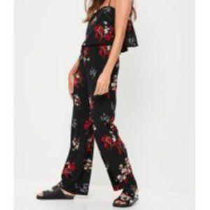 Missguided Petite Black Floral Print Jumpsuit